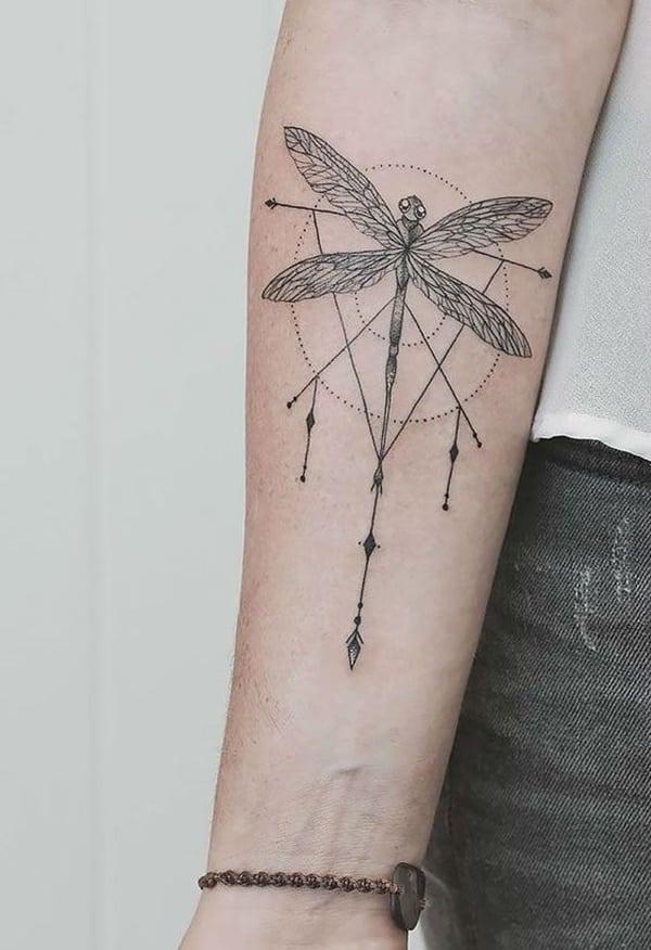 artistic dragonfly tattoo design
