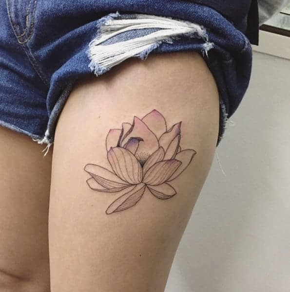 Lotus Flower Finger Tattoo