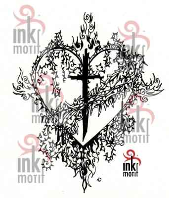 INK MOTIF SACRED HEART WALL TATTOO