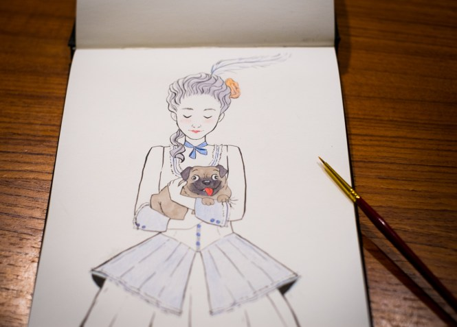Marie-Antoinette Pug Inktober Illustration Ink