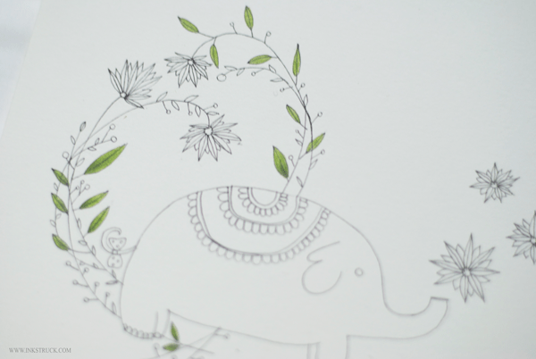 baby elephant illustration beginning stages