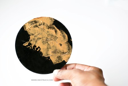 DIY black and gold coasters by Zakkiya Hamza of Inkstruck Studio