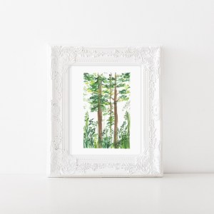 Abstract watercolor forest illustration is a high quality print of a watercolor illustration by Zakkiya hamza of Inkstruck Studio.