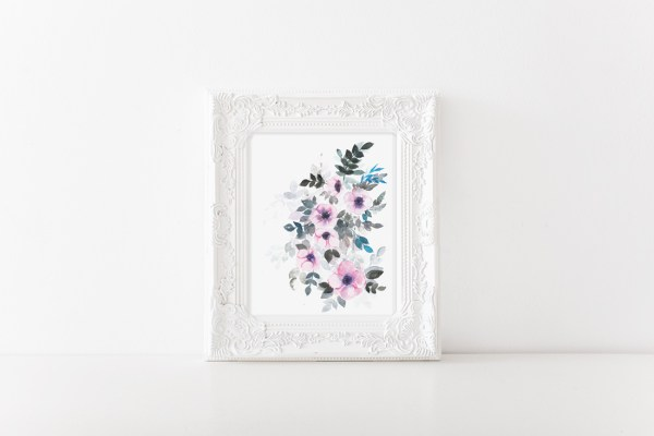 "Watercolor florals-""Winter Bloom"" . This listing is that of watercolor anemones reflecting the colors of winter season by Zakkiya Hamza of Inkstruck Studio."