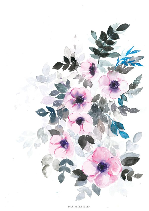 """Watercolor florals-""""Winter Bloom"""" . This listing is that of watercolor anemones reflecting the colors of winter season by Zakkiya Hamza of Inkstruck Studio."""