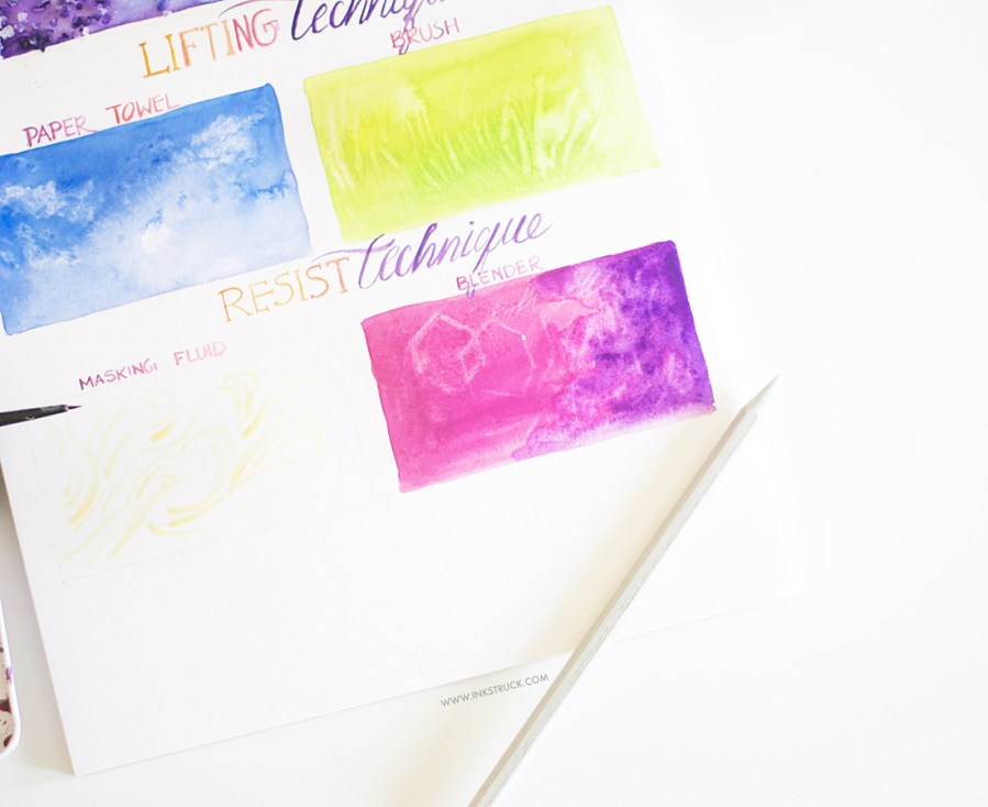 Learn fun and easy beginner watercolor techniques for beginners using salt,paper towel and masking fluid in this post- Zakkiya Hamza | Inkstruck Studio
