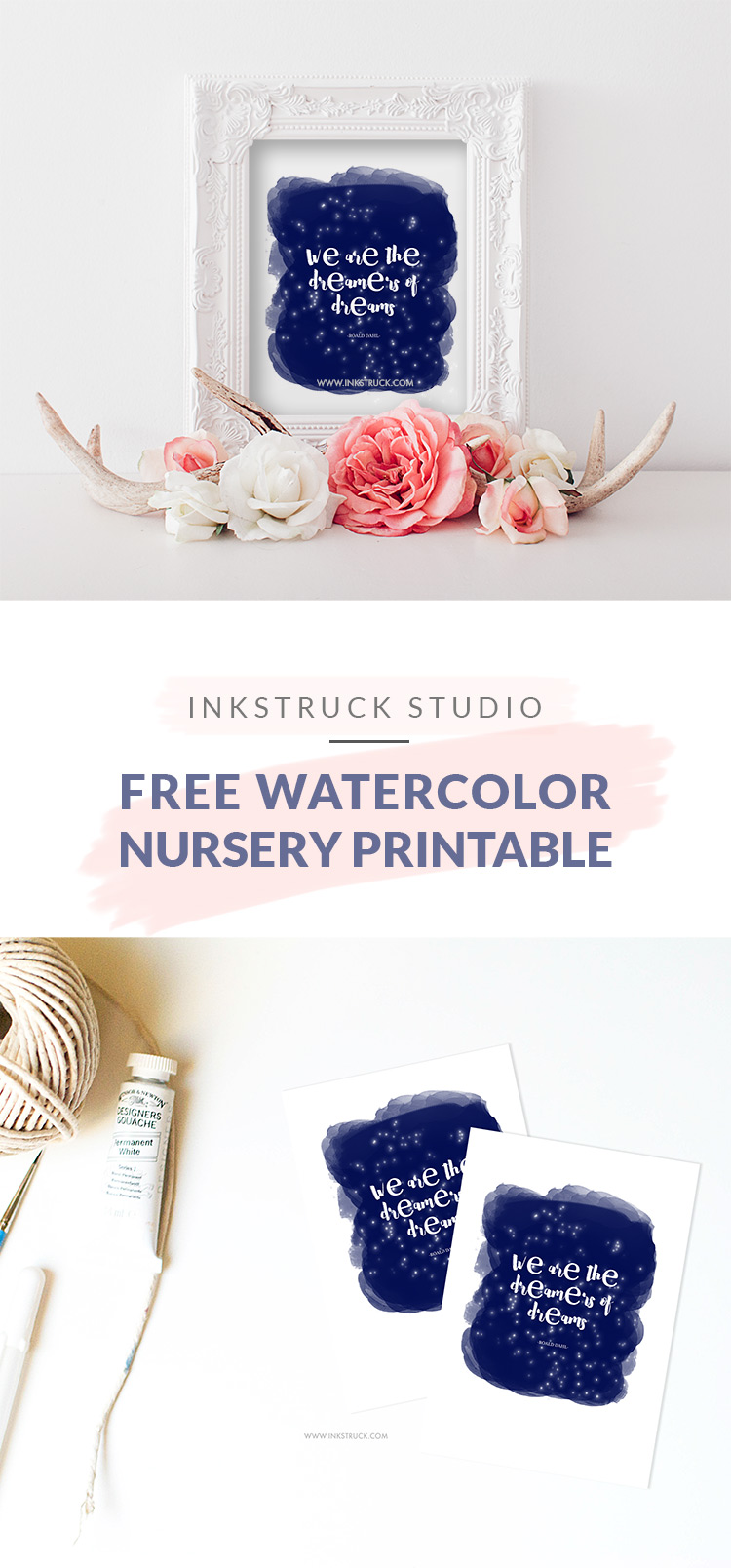 Free watercolor nursery printable-Roald Dahl quote | Inkstruck Studio