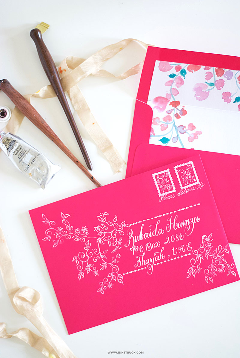 DIY envelope art with white goauche- Zakkiya Hamza | Inkstruck Studio