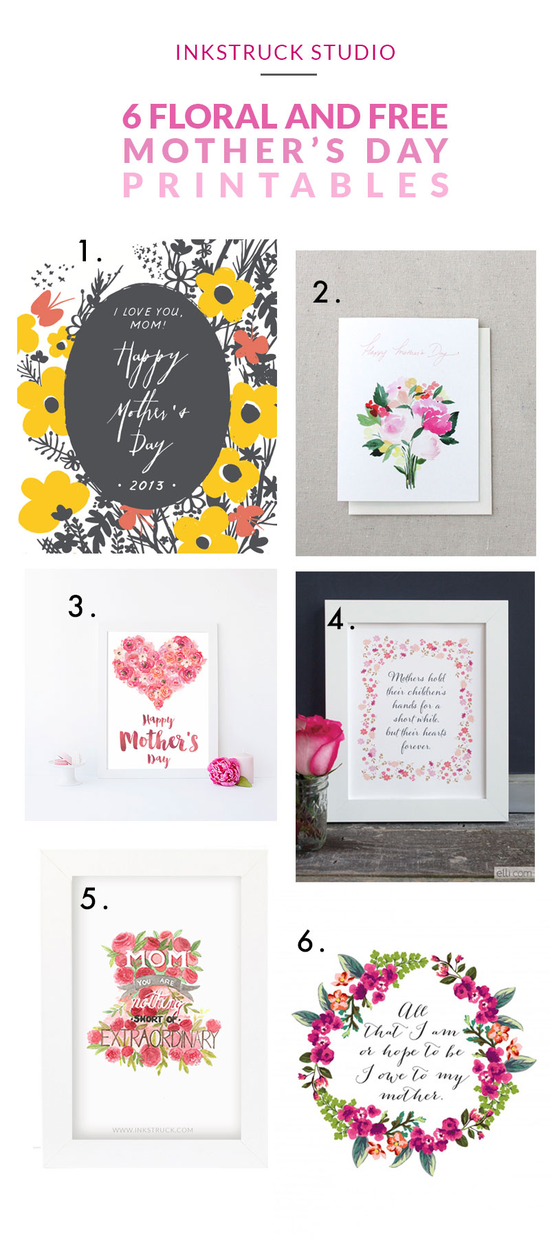 Six floral and free mother's day printables | Inkstruck Studio