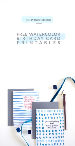 Free watercolor birthday card printables - Inkstruck Studio