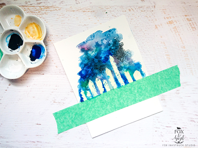 DIY Watercolor Galaxy Cityscape // Fox & Hazel for Inkstruck Studio