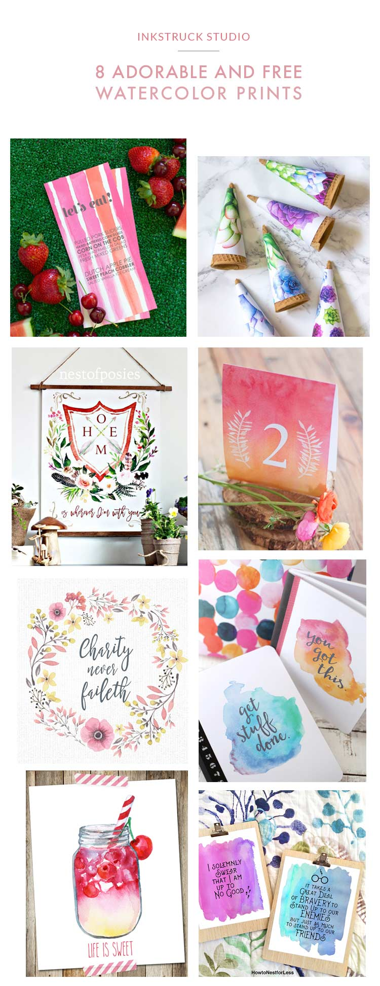 8 swoon-worthy free watercolor prints | Inkstruck Studio