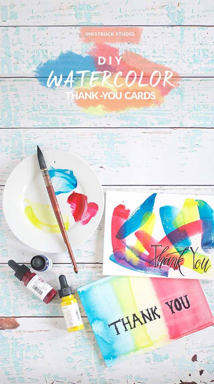 DIY watercolor thank you cards - 2 different ways | Inkstruck Studio