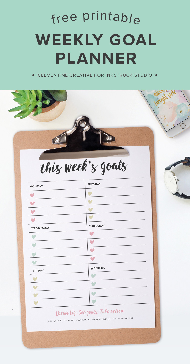 Set your weekly goals on this handy free printable weekly goals planner page. Download here!