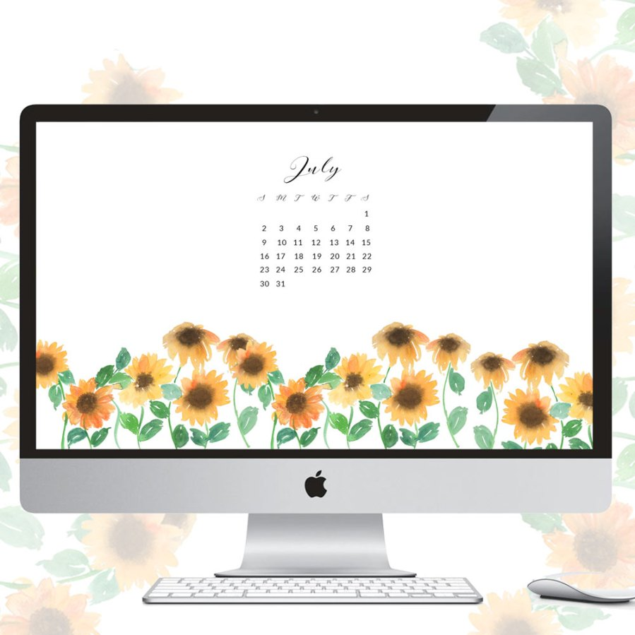 Free July watercolor wallpapers - Inkstruck Studio