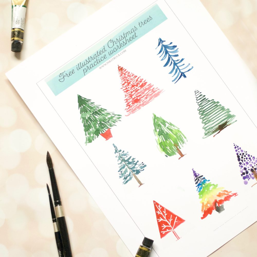 Watercolour Christmas Tree: FREE WATERCOLOR CHRISTMAS TREE WORKSHEET- Inkstruck Studio