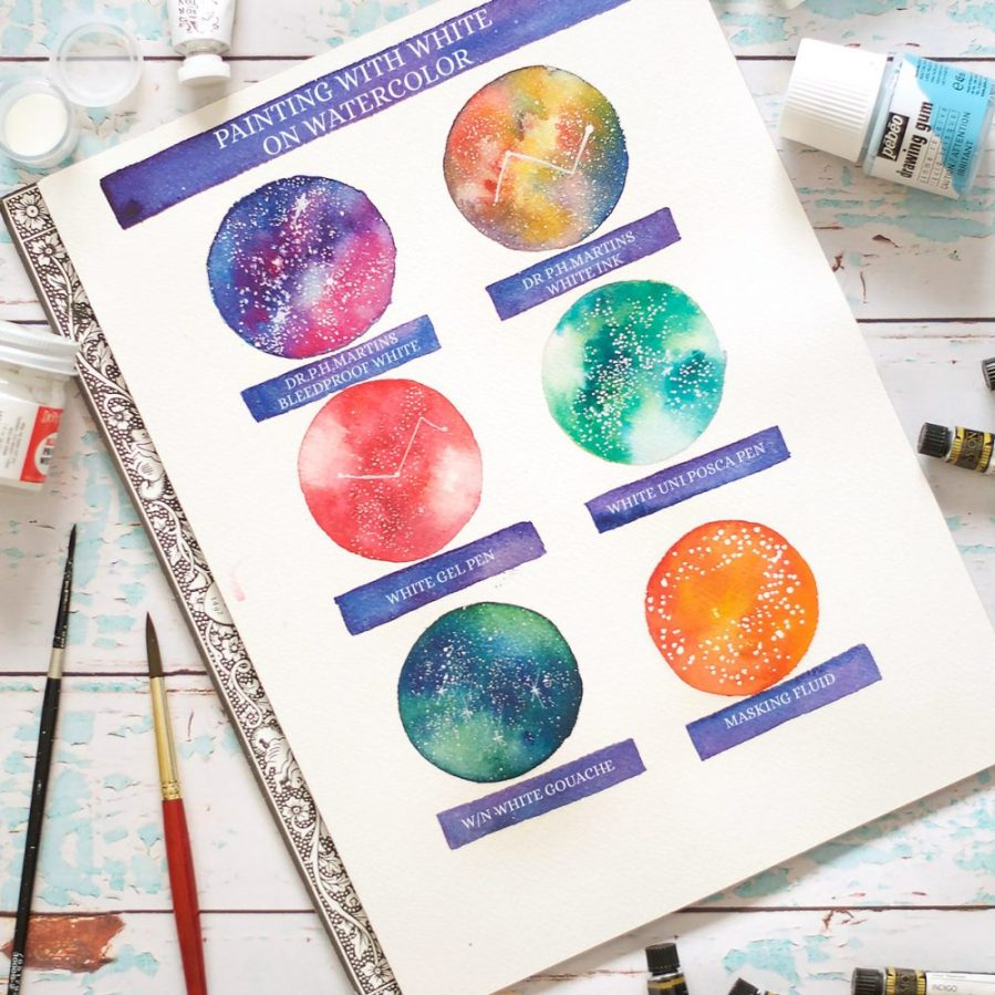 Painting with white on watercolors can be a bit tricky. Learn different mediums you can use in this detailed blog post - Inkstruck Studio #watercolor #watercolortutorial