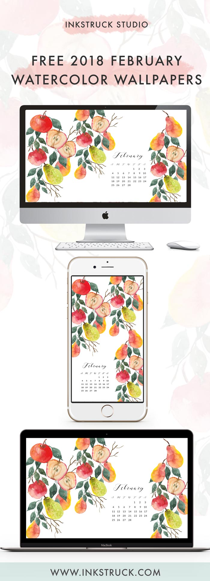 Get hold of my free 2018 February watercolor wallpapers from this blog post. They're available undated as well - Inkstruck Studio