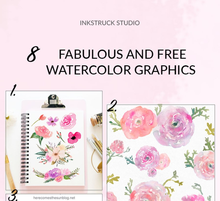 Have a look at these awesome free watercolor graphics roundup. #watercolor #watercolorclipart #watercolordesign - Inkstruck Studio