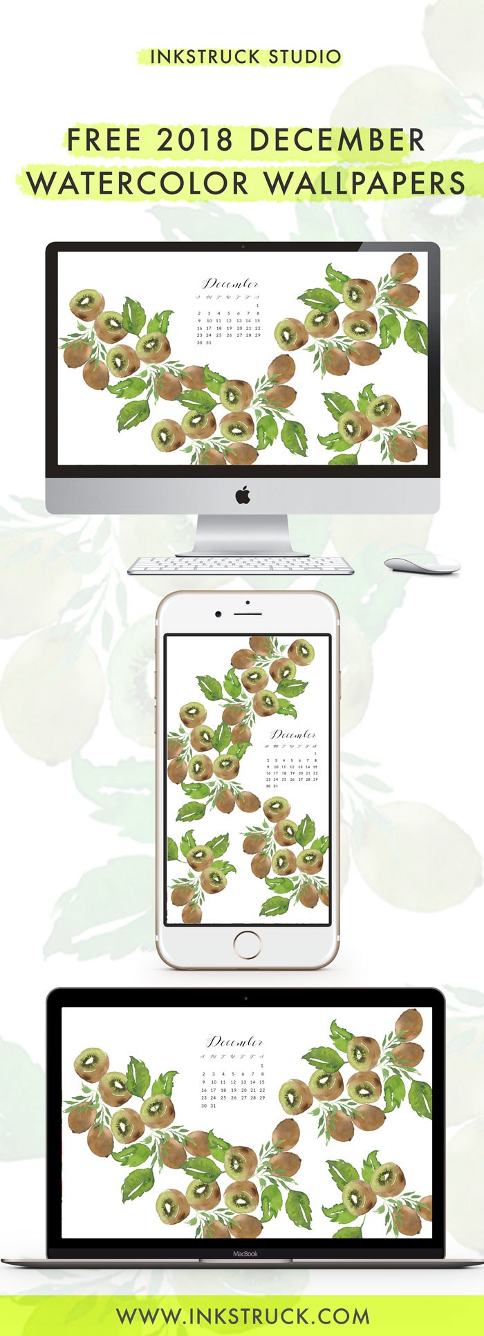 Grab my free 2018 December watercolor wallpapers on the blog now with both dated and undated versions for phones and desktops. - Inkstruck Studio