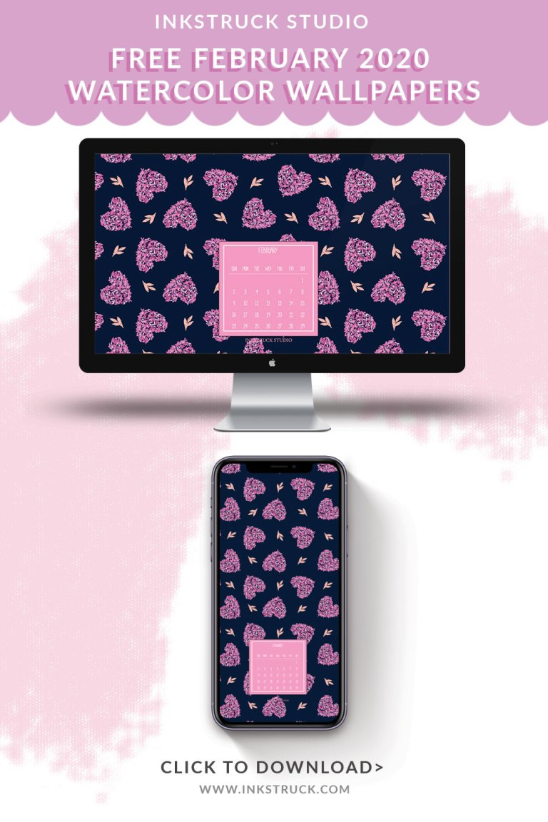 Free February 2020 watercolor wallpapers
