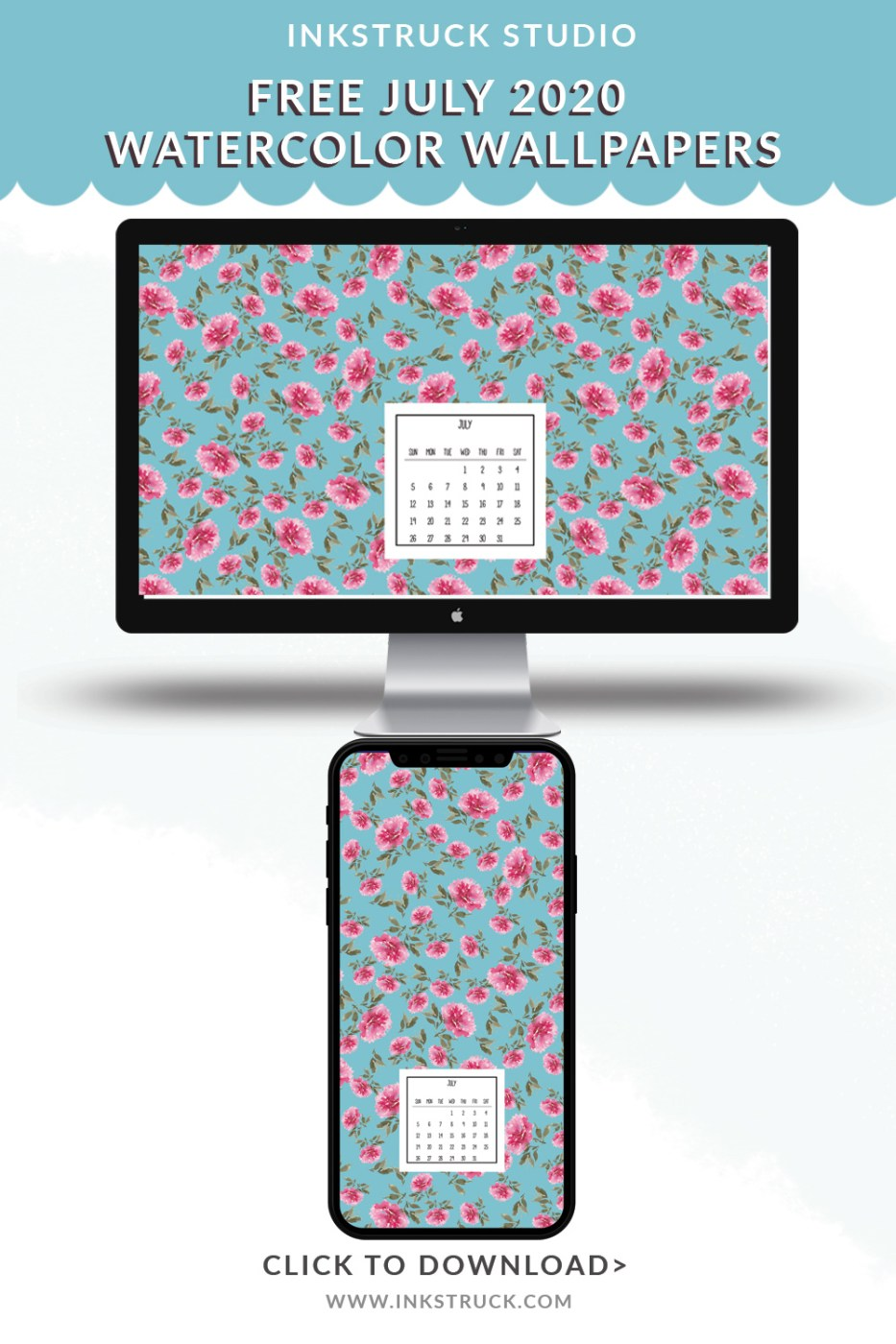 Download free July 2020 watercolor wallpapers for desktops and mobiles.