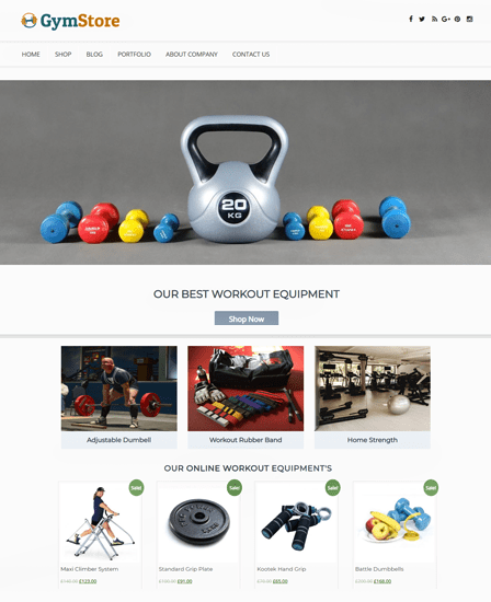 Website template that comes with the responsive wordpress theme. Workout Equipment Sale WordPress Theme Template Inkthemes