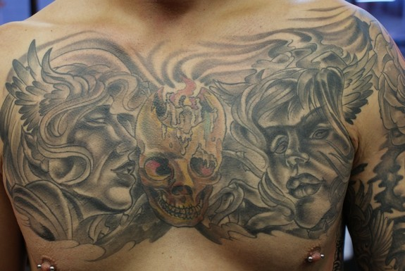 Angels And Demons Tattoos Chest