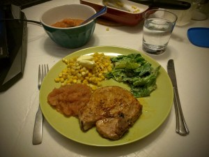 Pork Chops, Apple Sauce, Corn and a Caesar Salad