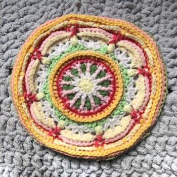 Acrylic crochet sampler of the Liliana throw