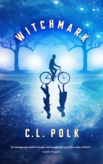 Book cover for Witchmark by C. L. Polk, featuring a man in a suit and derby atop a bicycle. The shadows cast are of a gentleman and lady.