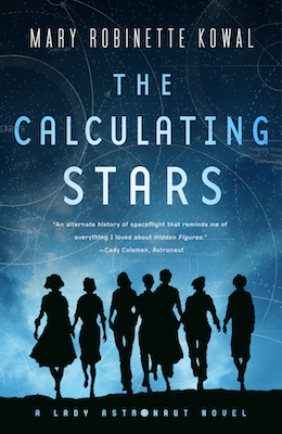 Book Cover: The Calculating Stars. The silhouettes of a group of women in vintage clothing on a shaded blue background overdrawn with blueprints or flight plans