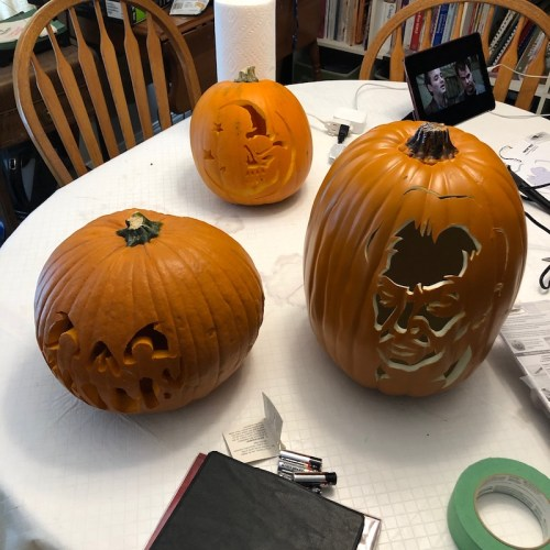 Newly carved pumpkins, both real and foam.