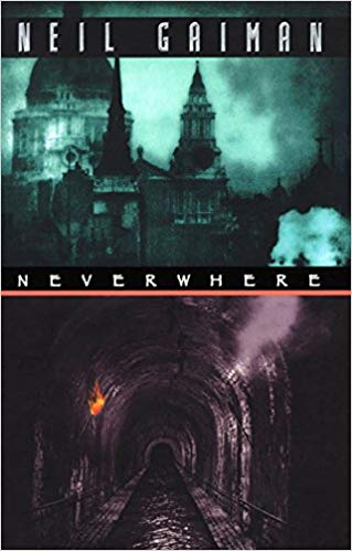 Book cover for Neil Gaiman's Neverwhere: The cover is split between top and bottom to show London Above and London Below