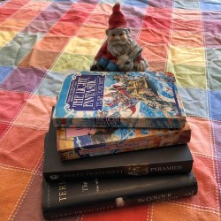 A selection of Terry Pratchett Discworld books, guarded over by a garden gnome