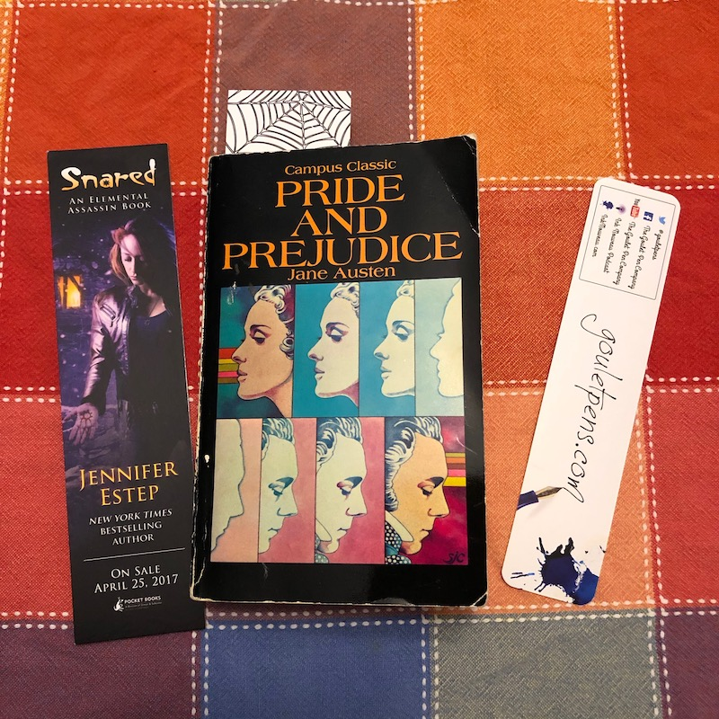 Traditional bookmarks featured with Pride and Prejudice