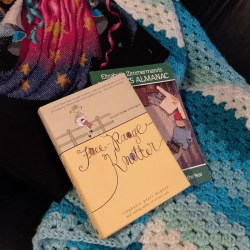 Crochet, cross stitch, and books by Elizabeth Zimmerman and Stephanie Pearl McPhee