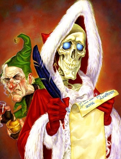 Death and Albert in Terry Pratchett's Hogfather. Illustration by Paul Kidby