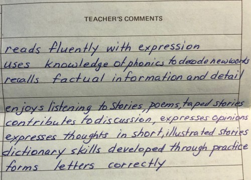 Snippet from one of my grade 2 report cards.