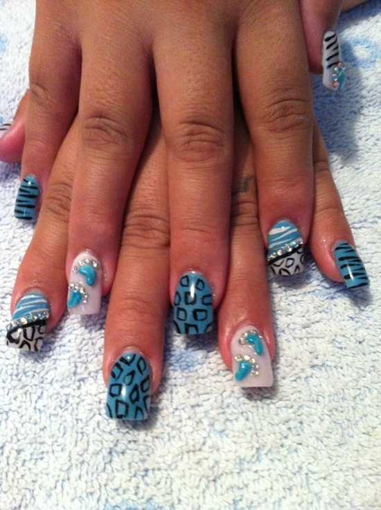 Gelish Blue White Silver Nails