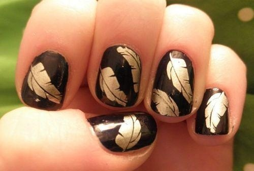 Brown Nails With Green And Orange Fallen Leaves Autumn Nail Art