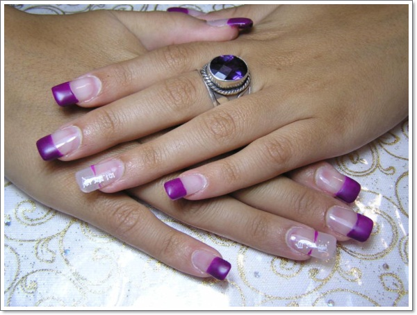 Purple Nails With Cute Dot Diamonds And Flowers