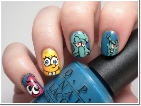 Cartoon Nail Art 1 With Spongebob Characters Such As