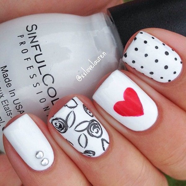 Nail Arts Cute Black And White Designs Photo 3
