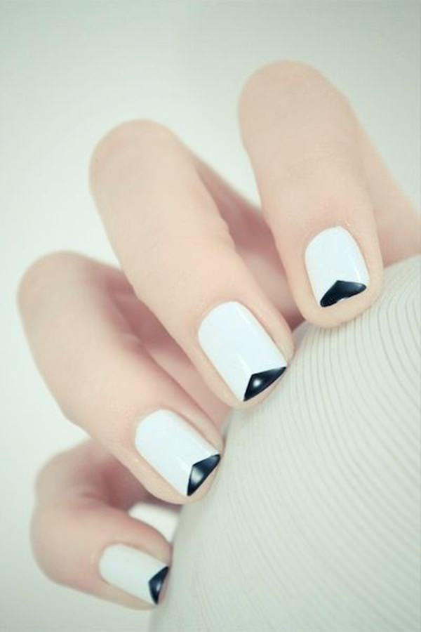 Simple Black And White Nail Design
