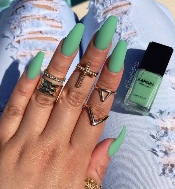 Green Marble Acrylic Nails Coffin