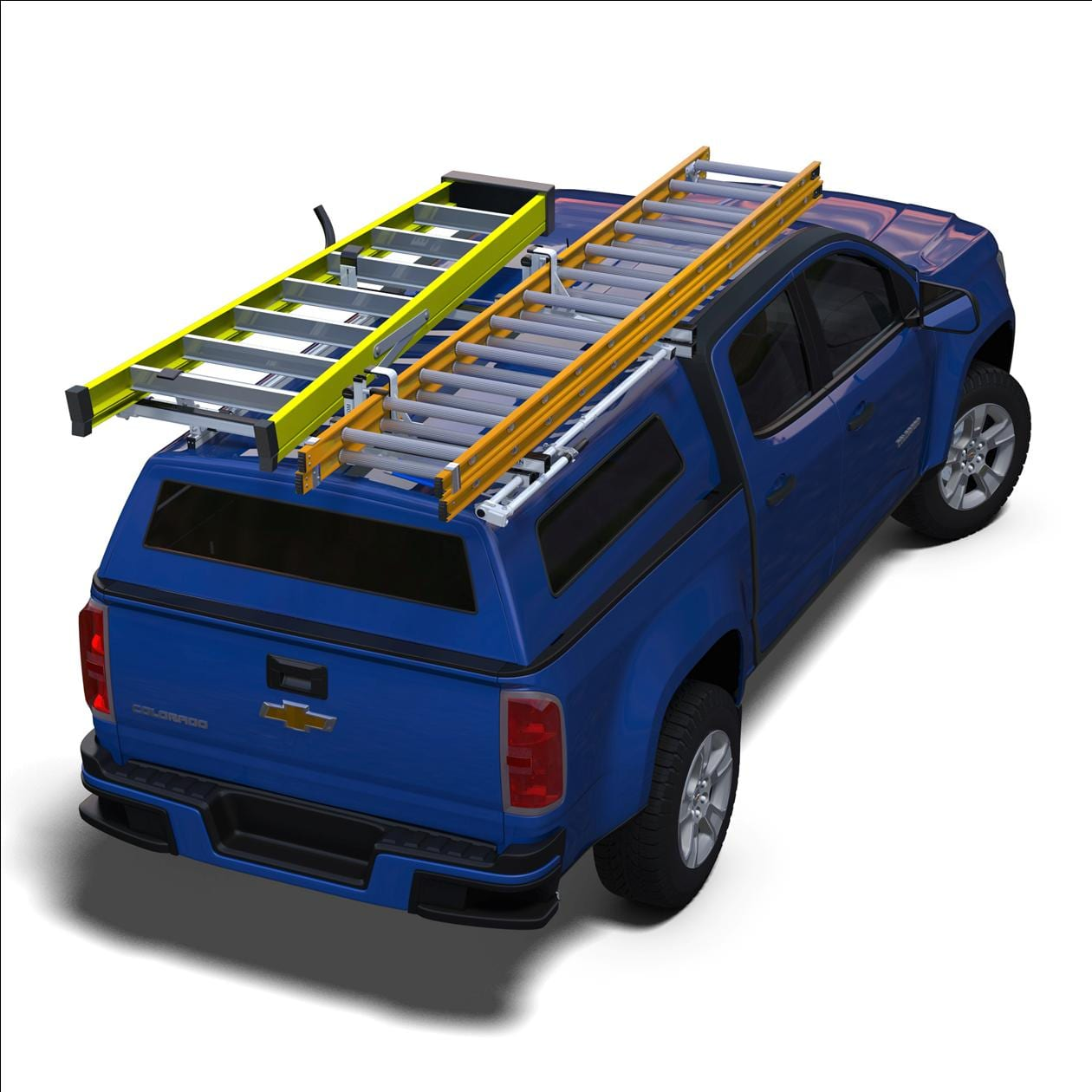 ergorack combination clamp down drop down ladder rack for full size pickup trucks with cap