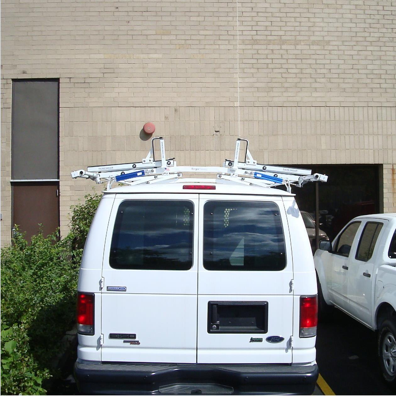 ergorack double drop down ladder rack for ford econoline model vrr 216