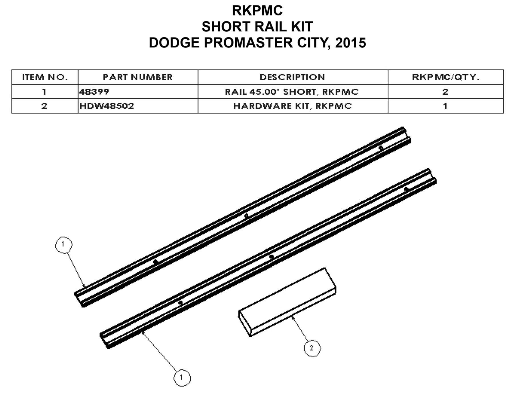 Adrian Steel Commercial Van Interiors Rail Kit for 130