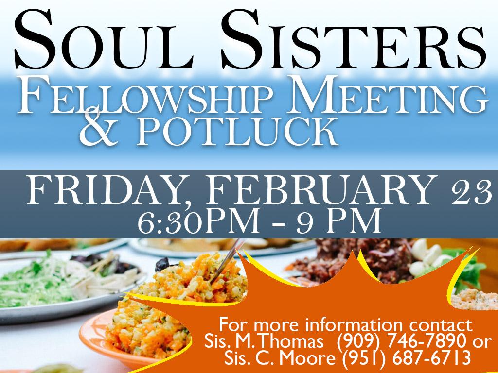 Soul Sisters Potluck – February 23, 2018